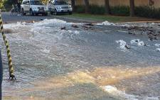 A major pipe burst in Randurg caused flooding in surrounding areas. Picture: Supplied