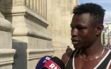 A screengrab of the Malian migrant explaining his rescue.