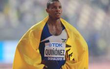 In this file photo taken on 1 October 2019 Ecuador's Alex Quinonez celebrates after taking bronze in the Men's 200m final at the 2019 IAAF Athletics World Championships. Picture: AFP