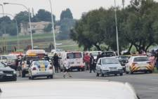 The scene where former 28's gang leader Ernie Solomon was shot and killed in Boksburg on 20 November 2020. Picture: Twitter/@crimeairnetwork