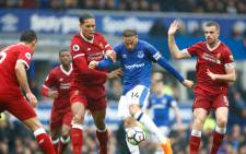 Liverpool and Everton players during the derby on Saturday 7 April 2018. Picture: Twitter/@LFC