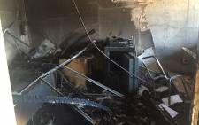 An office at the Vaal University of Technology was set alight on 11 May 2016 evening during protests by angry students. Picture: Kgothatso Mogale/EWN.