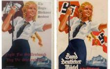 FILE: The poster, left, was similar to that portraying the Nazi-era League of German Girls, right. Picture: Twitter/@TheodeJager.