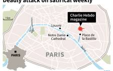 This graphic shows the location of Charlie Hebdo's office in Paris. Graphic: AFP
