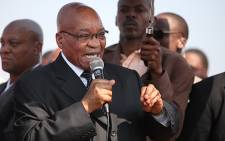 President Jacob Zuma addresses workers in Marikana, on 22 August 2012. Picture: Taurai Maduna/EWN