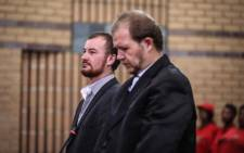 Pieter Doorewaard and Philip Schutte appear in the North West High Court for their sentencing. The pair was found guilty of killing 16-year-old Mathlomola Moshoeu in Coligny. Picture: Abigail Javier/EWN