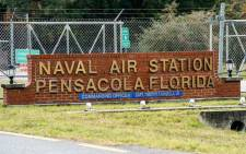 A general view of the atmosphere at the Pensacola Naval Air Station following a shooting on 6 December 2019 in Pensacola, Florida. The second shooting on a US Naval Base in a week has left three dead plus the suspect and seven people wounded. Picture: AFP.