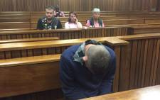 Sarel Du Toit, who pleaded guilty to killing four-year-old Jasmin Pretorius, sat silently in the dock with his head slightly bowed in the High Court in Pretoria on Tuesday 10 November 2015. Picture: Vumani Mkhize/EWN.