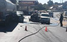 Its understood five cars and a diesel tanker were involved in a crash on the M1 north, at the Oxford Road offramp, on Saturday 29 May 2021. Picture: Supplied