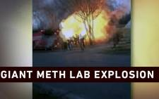 A screengrab of a A Tennessee meth lab exploding.