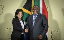 President Cyril Ramaphosa announces Shamila Batohi as the new NPA head at the Union Buildings in Pretoria on 4 December 2018. Picture: Thomas Holder/EWN