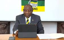 African National Congress (ANC) president Cyril Ramaphosa delivering the closing address on 10 May 2021 after the ANC's national executive committee meeting. Picture: Screengrab/Facebook.