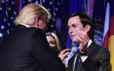 FILE: This file photo taken on 9 November, 2016 shows then US President-elect Donald Trump with son-in-law Jared Kushner (R) during an election night party at a hotel in New York. Picture: AFP.