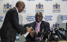 Gauteng Premier David Makhura briefs the media in Midrand on 18 March 2020 about the measures Gauteng provincial government will be taking regarding coronavirus. Picture: Abigail Javier/EWN