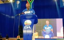 DA leader Mmusi Maimane addresses supporters at Saulsville Arena at the Gauteng manifesto launch. Picture: @Our_DA/Twitter.