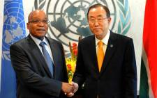 FILE: President Jacob Zuma with UN Secretary General Ban Kin Moon in New York. Picture: GCIS