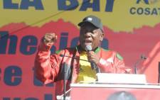 FILE: ANC president Cyril Ramaphosa addressing thousands of people at Cosatu's main Workers Day Rally in Port Elizabeth. Picture: @MYANC/Twitter