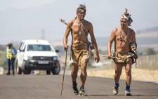 Clinton Strandloper and Neil Dikwe X walk on the R101 near Kraaifontein as part of the Indigenous Liberation Walk on 29 February 2016. Picture: Aletta Harrison/EWN