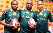 Siphiwe Tshabalala, Pitso Mosimane and Steven Pienaar show their support for the Springboks. Picture: Supplied