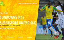 Mamelodi Sundowns lost to SuperSport United in the Telkom Knockout quarter-final at Lucas Moripe Stadium on Saturday 11 November 2016. Picture: Twitter.