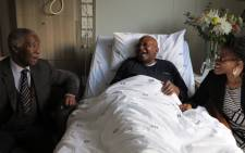 Former President Thabo Mbeki visited Archbishop Emeritus Desmond Tutu at a Cape Town hospital last month. Picture: Desmond & Leah Tutu Legacy Foundation/Oryx Media.