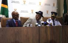The Ministers of Police, Home Affairs, as well as National Commissioner of Police holds a press briefing on a significant breakthrough on corruption within the Prison and Home Affairs environment. Picture: EWN