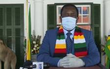 A YouTube screengrab of Zimbabwe's President Emmerson Mnangagwa addressing the nation on 4 August 2020.