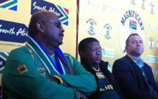 Minister Fikile Mbalula flanked by SASCOC's Tubby Reddy and SARU's Oregan Hoskins on Friday July 29.Picture: Tshepo Lesole/EWN