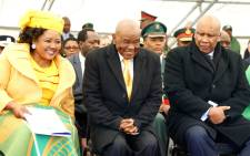 FILE: Newly appointed Lesotho Prime Minister Thomas Thabane (C), leader of the All Basotho Convention (ABC) political party, his wife 'Ma Isaiah Ramoholi Thabane (L) and Lesotho King Letsie III (R) react during Thabane's inauguration on 16 June 2017 in Maseru. Picture: AFP