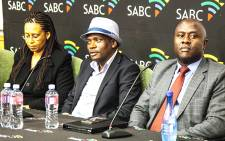 FILE: Hlaudi Motsoeneng (centre) and members of the SABC board. Picture: Kgothatso Mogale/EWN