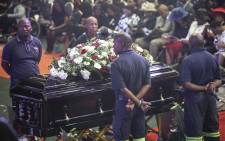 HHP's casket in Mmabatho Convention Centre in the North West. Picture: Abigail Javier/EWN.