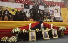 Johannesburg Mayor Herman Mashaba speaks at the memorial service of the three firefighters who died in last week's blaze at the Lisbon Building in Johannesburg CBD. Picture: @CityofJoburgZA/Twitter.