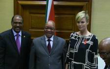 President Jacob Zuma met US actress, and UN Messenger, of Peace Charlize Theron in Pretoria on 29 July 2013. Picture: Christa Van der Walt/EWN