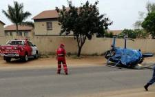Paramedics at the scene of a helicopter crash in Wonderboom. Picture: Twitter/RE24