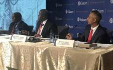 Zethembe Khoza, interim Chairman of the Eskom board (left), Johnny Dladla, interim Group CEO of the Eskom board (middle), Anoj Singh, Eskom CFO (right) on 19 July 2017 brief media on 2016 results. Picture: Kgothatso Mogale/EWN