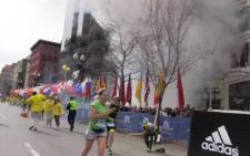 A screen grab from a private video shows the smoke after one of the explosions at the 2013 Boston Marathon. Picture: AFP