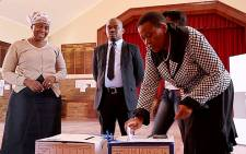 IEC chairperson Pansy Tlakula casts her special vote. Picture: EWN.