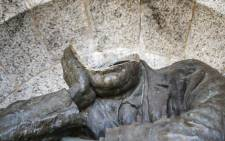 A view of the decapitated bust of Cecil John Rhodes, a 19th century British colonialist, at the Rhodes Memorial in Cape Town after it was vandalised in July 2020. Picture: AFP.