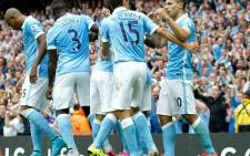 Manchester City players celebrate after a scoring a goal during the new English Premier League season in August 2015. Picture: Manchester City/Facebook.