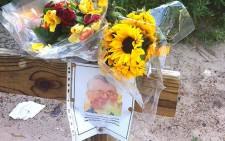 Flowers near Strand Putt Putt Course where Dr Louis Heyns's body was found. Picture: Chanel September/EWN