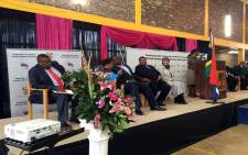 FILE: Police Minister Nkosinathi Nhleko, his Deputy Maggie Sotyu and State Security Minister David Mahlobo hosted an Imbizo in Nyanga on 27 August 2015. Picture: Xolani Koyana/EWN.