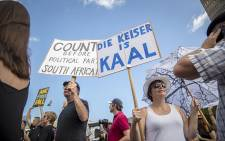 Protesters gathered outside Parliament to show their support for the #ZumaMustFall movement on 16 December 2015. Picture: Aletta Harrison/EWN