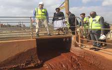 Minister of Water and Sanitation, Nomvula Mokonyane inspects an acid mine drainage purification plant in Germiston. Picture: Vumani Mkhize/EWN.
