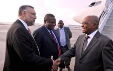 President Jacob Zuma is welcomed to New York, USA by SA Ambassador Ebrahim Rasool on 21 September 2014. Picture: GCIS
