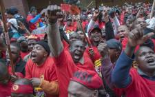 FILE: Members of National Union of Metalworkers of South Africa take part in strike action in Johannesburg. Picture: Ihsaan Haffejee/EPA