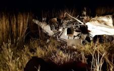 Debris of a helicopter which crashed in Heilbron, Free State. Picture: Kgothatso Mogale/EWN.