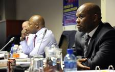 Gauteng Hawks boss Shadrack Sibiya and his legal team at his disciplinary hearing which started in Pretoria on 10 June 2015. Picrure: Reinart Toerien/EWN