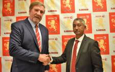 Neville Jardine (right) has been appointed as the new president of the Golden Lions Rugby Union. Picture: @LionsRugbyCo/Twitter