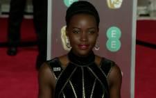 A screengrab of Lupita Nyong'o at the 2018 Baftas.