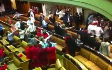 Chaos in South Africa's National Assembly. Picture: Screengrab Youtube/Gwandile